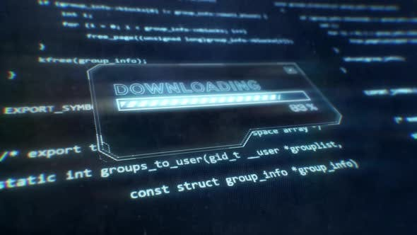 Computer Code Displayed on Sci-Fi Screen as Downloading Message is Displayed