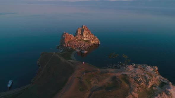 Thumbnail for Shamanka Aerial Shot with Quadrocopter Lake Baikal, Summer Dawn