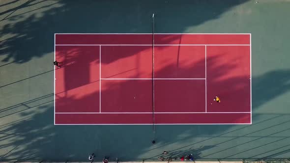 Playing Tennis Aerial