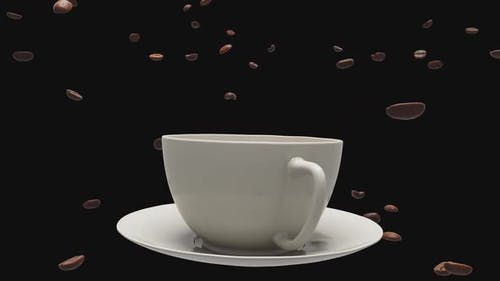 Animation of flying around a cup of coffee and beans