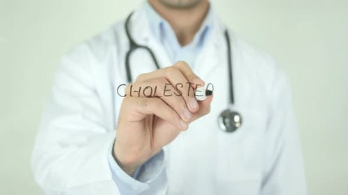 Cholesterol, Doctor Writing on Transparent Screen