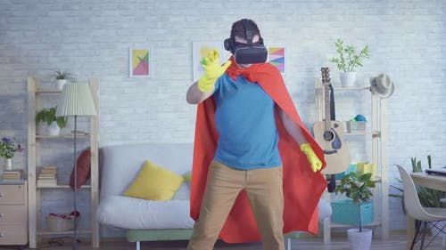 Man Householder Superhero Wearing Virtual Reality Glasses
