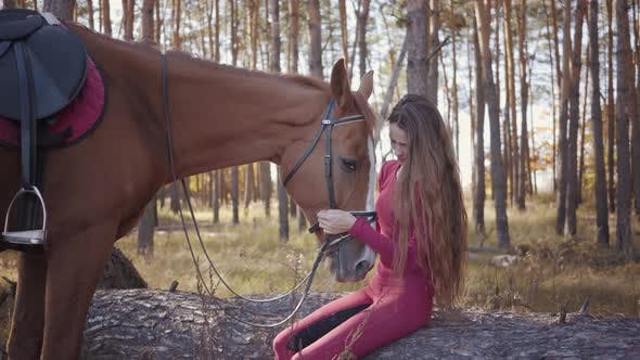 Thumbnail for Portrait of Young Caucasian Woman Sitting in the Autumn Forest and Caressing Horse's Face