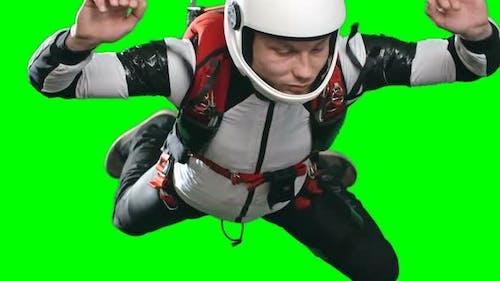 Man Parachuting in Mid Air