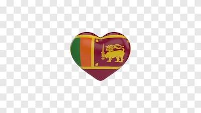 Sri Lanka Flag on a Rotating 3D Heart