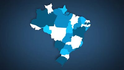 Motion Graphics Animated Map of Brazil Forming - White