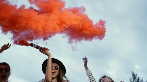 Thumbnail for Girls Painting Sky with Bright Smoke