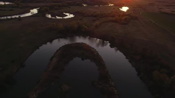 Wild River on Sunset in Ukraine