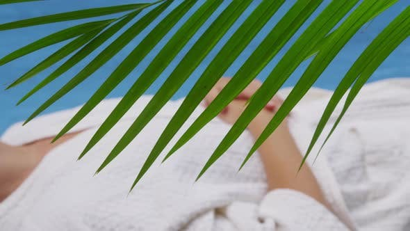 Woman relaxes at tropical spa, Costa Rica. Shot on RED EPIC for high quality 4K, UHD, Ultra HD resol