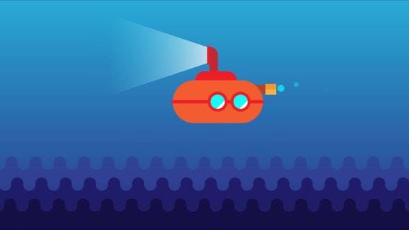 Animated Underwater Submarine.