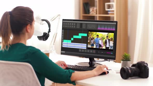 Cover Image for Woman with Video Editor Program on Computer