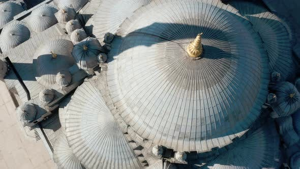 Fatih Mosque Dome And Golden Alem Aerial View 2