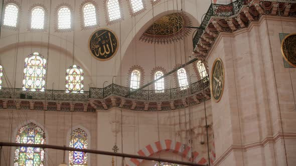 Suleymaniye Mosque Interior with Stained Glass Paintings