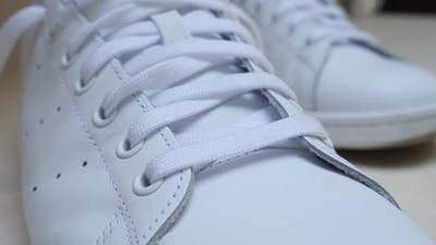 White Leather Sneakers with Laces