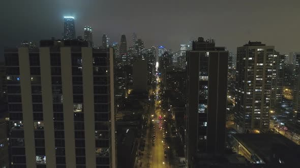 Thumbnail for Fly Above Chicago Downtown In Night