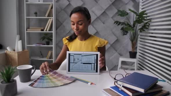 Female Designer Presenting Design Project Online