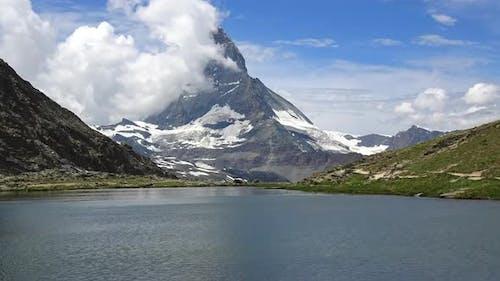 Timelapse of Scenic View on Snowy Matterhorn Peak and Lake Stellisee