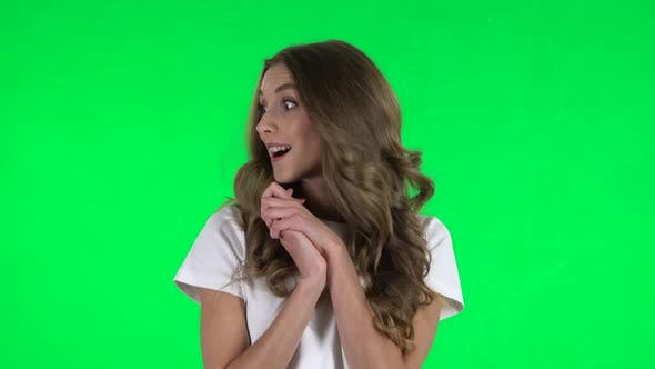 Thumbnail for Very Surprised Girl with Shocked Wow Face Expression. Green Screen