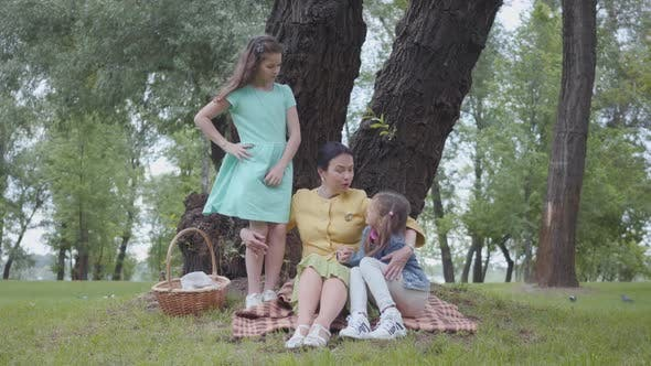 Cover Image for Elegant Senior Woman Sitting on the Blanket Under the Tree in the Park Talking with Granddaughters