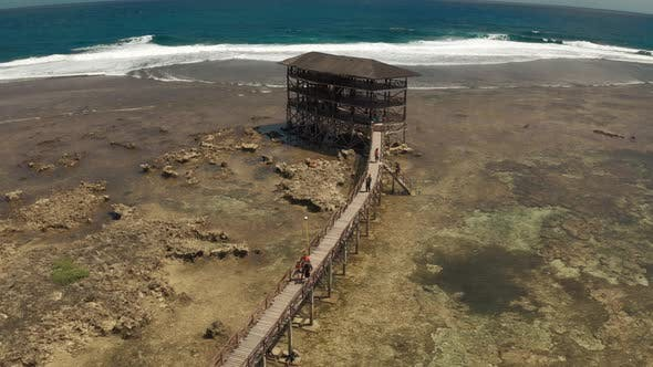 Thumbnail for Raised Wooden Walkway for Surfers To Cross the Reef of Siargao Island To Cloud 9 Surf Break in