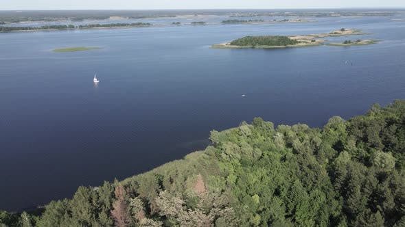 Thumbnail for Dnipro River. Aerial View. Ukraine. Slow Motion