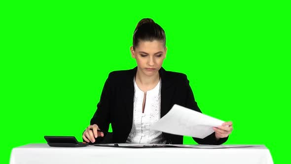 Thumbnail for Businesswoman Overwhelmed By Too Much Paperwork in Office. Green Screen
