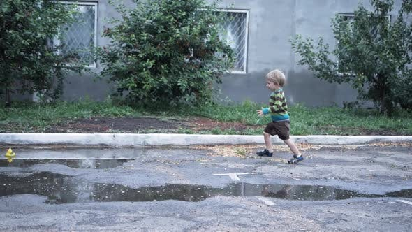 Outdoor Games, Active Little Male Child Runs Fun Through the Puddles and Falls on Asphalt During
