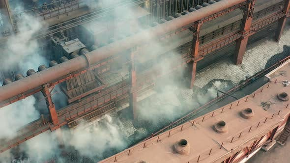Thumbnail for Aerial View. Coal Move on Conveyor in Modern Processing Plant