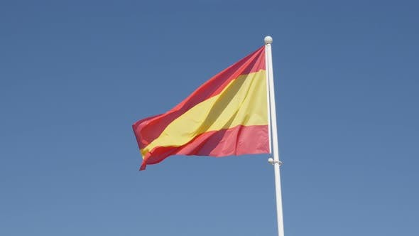 Thumbnail for Famous Spanish red and yellow flag stripes on the wind 4K 2160p 30fps UltraHD footage - National sym