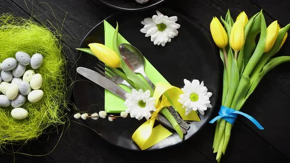 Thumbnail for Easter Spring Table Dishware Composition with Yellow Tulip Flower