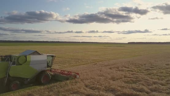 Thumbnail for Upper View New Reaper Thresher Gathers Wheat in Field