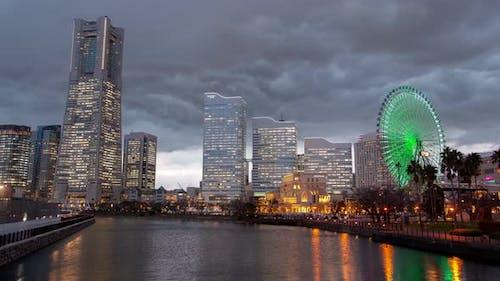 Yokohama Wolkenkratzer Nachtlichter Japan Timelapse