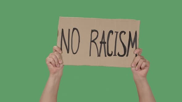 Thumbnail for Female Hands Hold a Poster From a Cardboard Box with the Words NO RACISM. Protest Against Racism and