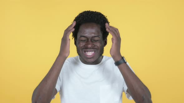 Thumbnail for Screaming Angry African Man, Yellow Background