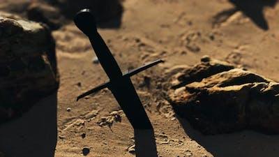 Retro Sword on Sand Beach