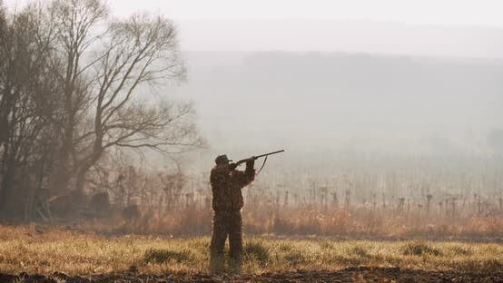 Cover Image for Hunter in Hunting Equipment Saw the Target and Aim with Rifle