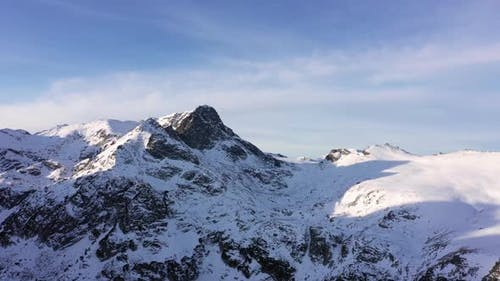 Beautiful view from drone to the snow mountain