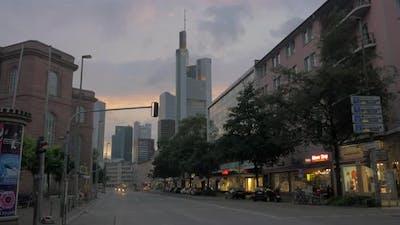Street in evening Frankfurt, Germany