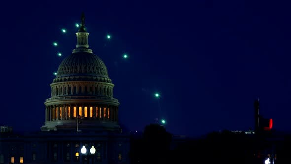 Celebratory Fireworks of Independence Day United States Capitol Building in Washington DC, on the