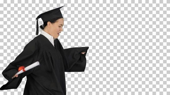 Thumbnail for Happy female student in graduation robe, Alpha Channel