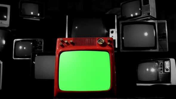 Thumbnail for Old TV Green Screen With Vintage TVs. Background goes Black. BW Tone.