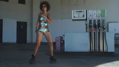 rollerskate skating urban babe woman dancer