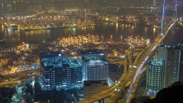 Thumbnail for Night  Skyview with Container Port Traffic in Hong Kong