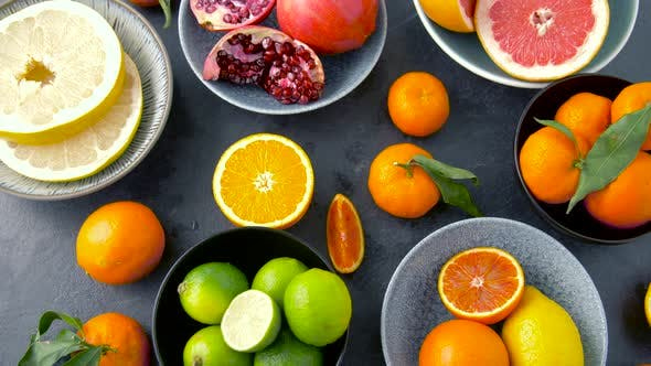 Thumbnail for Close Up of Citrus Fruits on Stone Table 40