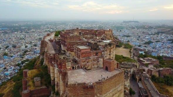 Aerial of Mehrangarh Fort in Jodhpur, Rajasthan, India.