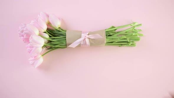 Thumbnail for Blumenstrauß aus rosa Tulpen auf einem rosa Hintergrund