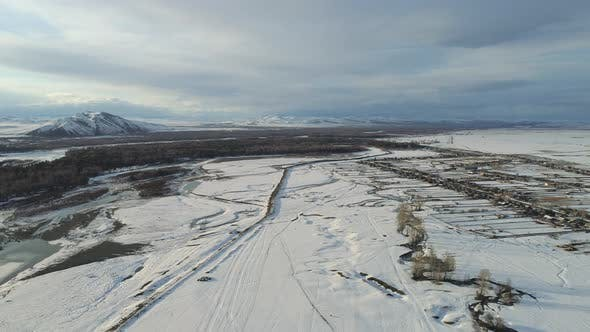 Aerial View A Russian Village