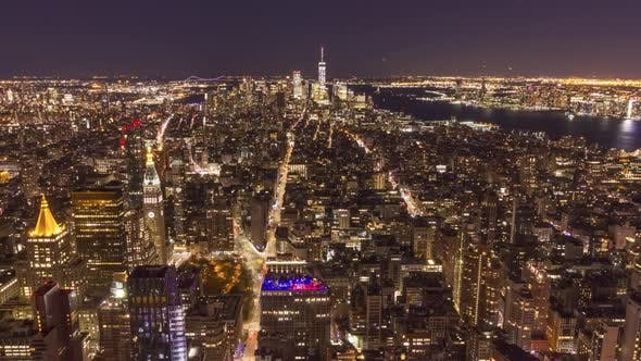 Thumbnail for Skyline of Manhattan, New York at Night