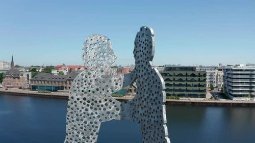 Orbit Shot Around Top Part of Molecule Man Aluminium Work of Art
