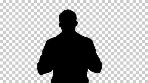 Silhouette doctor walking, Alpha Channel